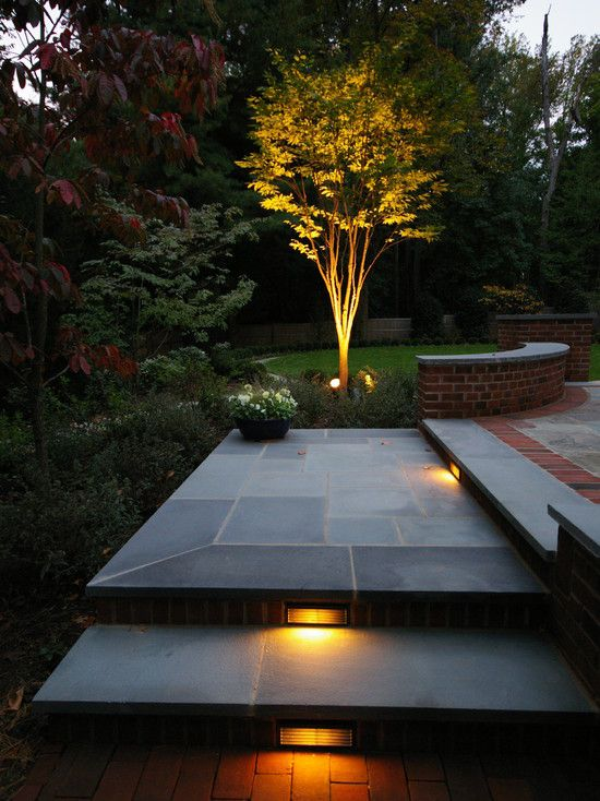 an image of a garden with paving slabs and great lighting