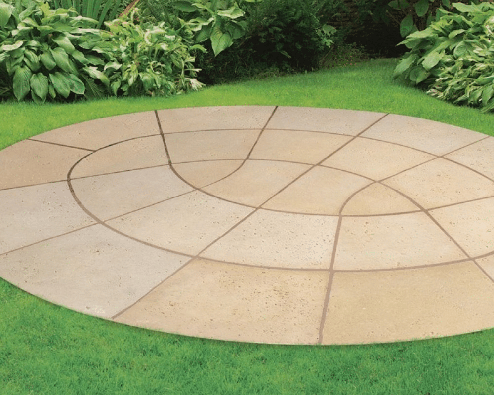 an image of a paving slabs used to create a circular paving design
