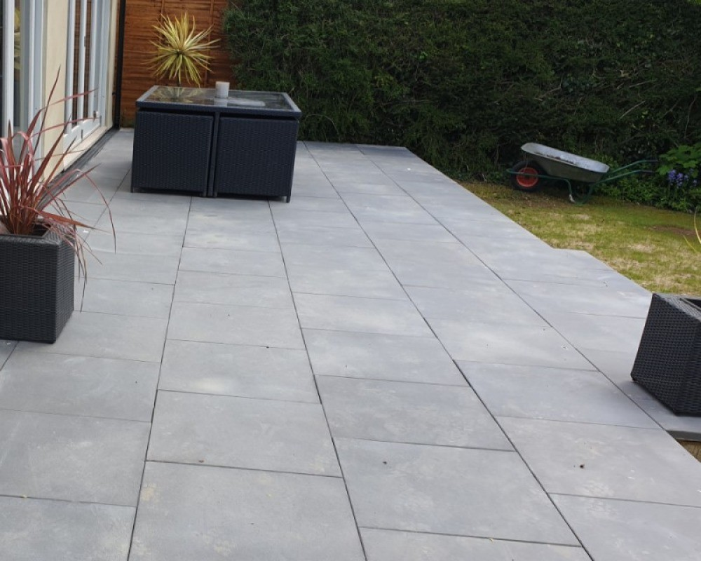 an image of modern textured paving slabs used in a garden